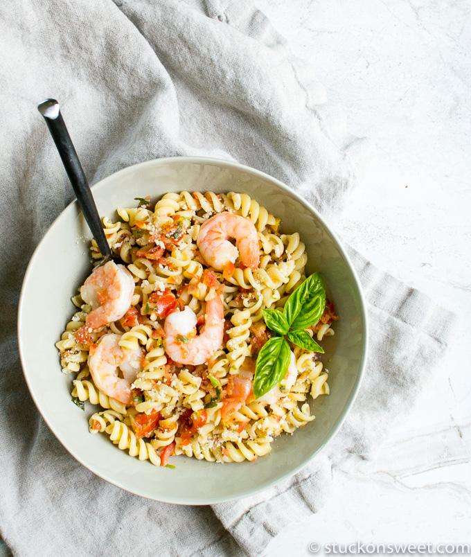 beautiful pasta dish with shrimp