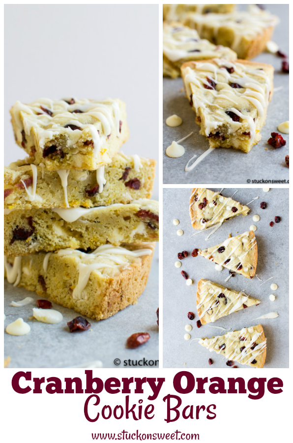 Easy Cranberry Orange Cookie Bars - a festive dessert bar made with orange zest, white chocolate and cranberries. #stuckonsweet #dessert #recipe #christmas