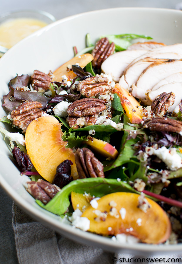 beautiful Fall inspired Peach Chicken Salad