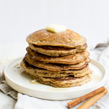 Homemade Cinnamon Oatmeal Pancakes are delicious. I love this recipe for breakfast!