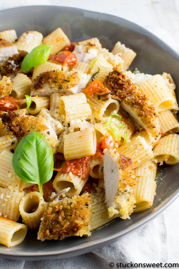 Beautiful pasta dish with tomato garlic and basil