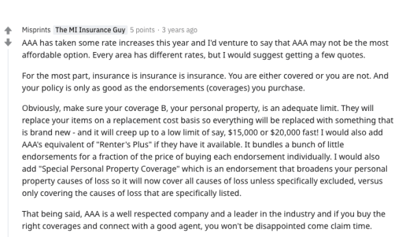 AAA Renters Insurance Review Reddit