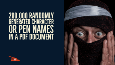 200,000 Randomly Generated Character or Pen Names in a PDF document