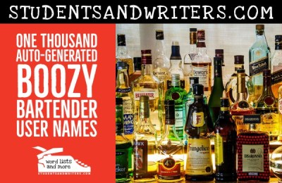 One Thousand Auto-Generated Boozy Bartender User Names