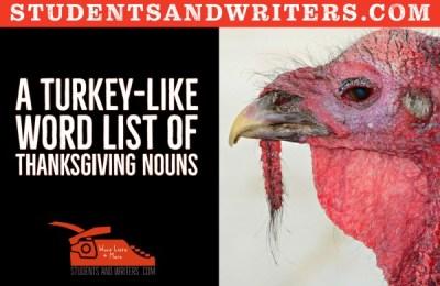 A turkey-like word list of Thanksgiving nouns