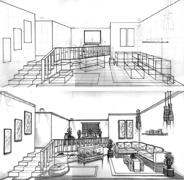 Perspective drawing living room for Living room 1 point perspective