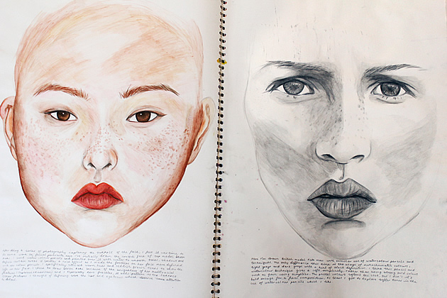 example of great layout for A Level Art sketchbook