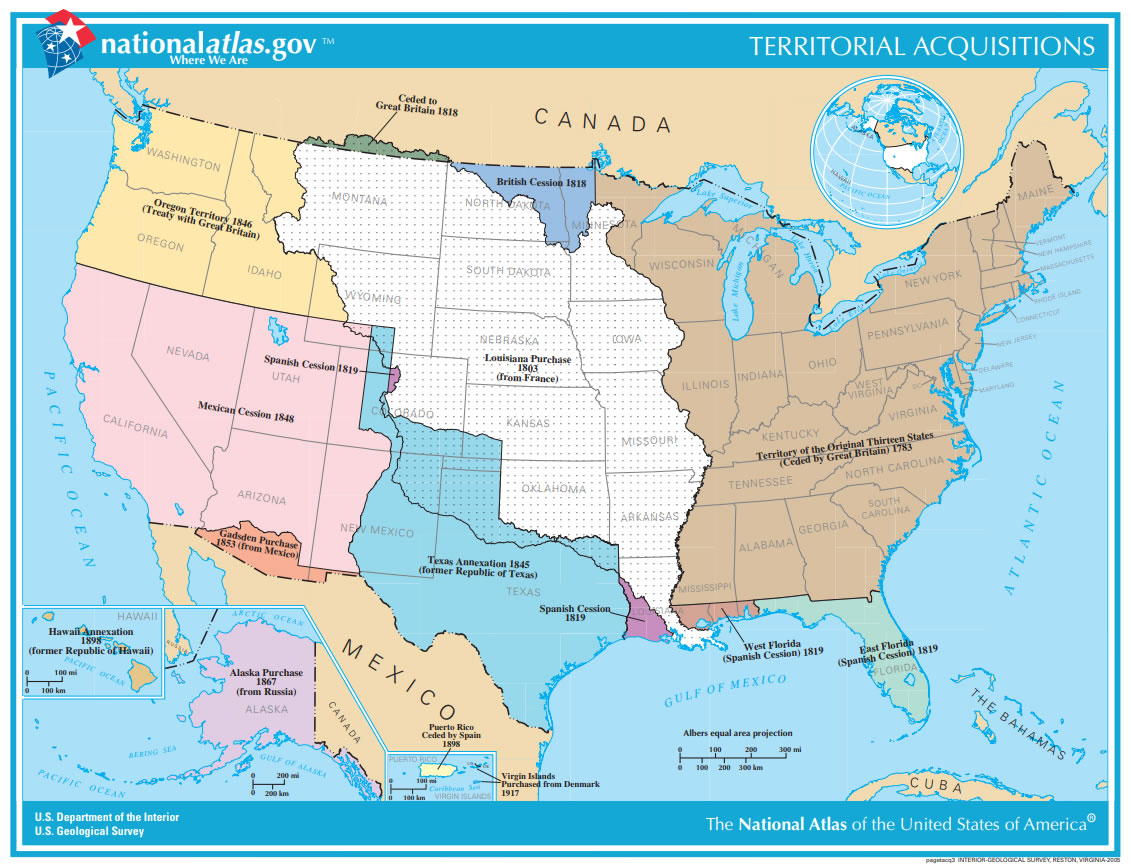 Map Of U S Territorial Acquisitions Since