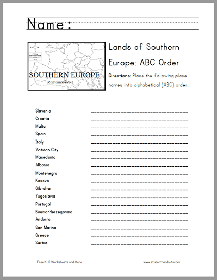 Southern European Countries In Abc Order Worksheet