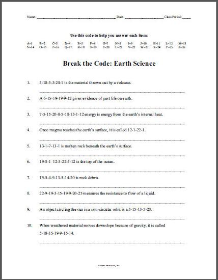 Earth Science Decoder Puzzle Grades 6 12 Student Handouts