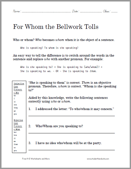 For Whom The Bellwork Tolls Grammar Worksheet