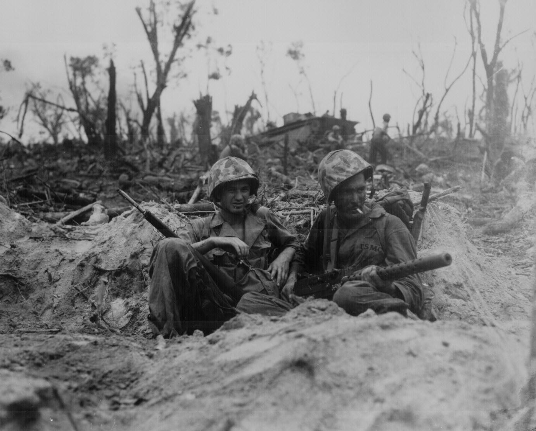 Smoking Marines On Duty In World War Ii