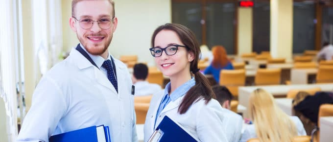 male-and-female-medical-school-students-smiling