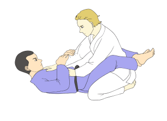 Jiu Jitsu black belts in traditional gis demonstrating Full Guard / Closed Guard