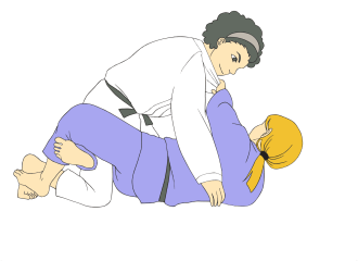 Jiu Jitsu black belts in traditional gis demonstrating Half Guard