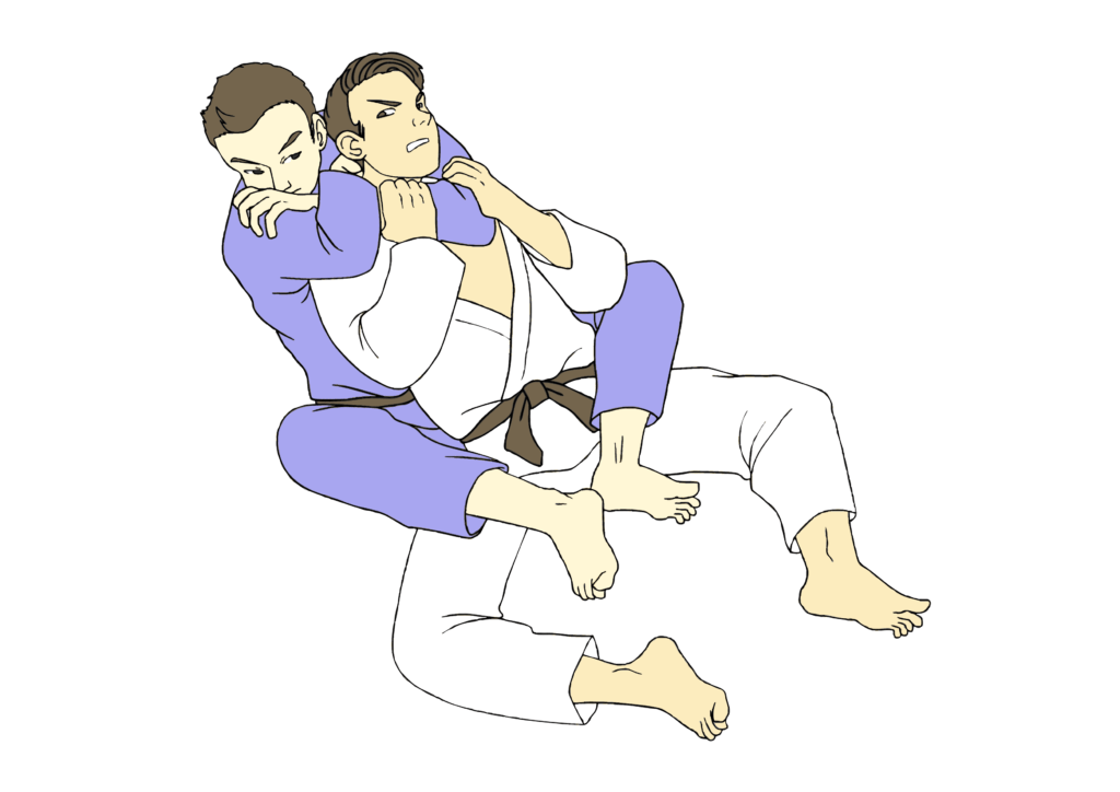 With Rear naked choke submission