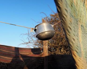 Shower head of water-saving outdoor shower.