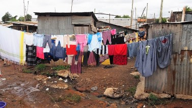 Clothes drying on a rainy day.