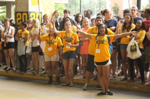 Students show excitement before the painting of the Eagle Walk on Sunday during Golden Eagle Welcome Week.