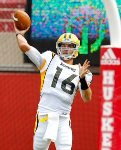 Southern Mississippi Golden Eagles quarterback Allan Bridgford (16) warms up prior to the game against the Nebraska Cornhuskers at Memorial Stadium. Bruce Thorson/US Presswire