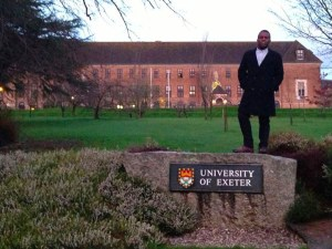 Rakeem Daniels stands in front of The University of Exeter in the U.K. during his study abroad session. Courtesy photo