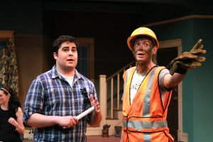 """Michael Morrison, left, and Wesley Guthrie gesture off stage in character on the set of """"Clybourne Park."""" Zachary Odom/Printz"""