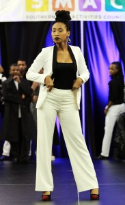 Sophomore Ashlea Hodge models for the SMAC fashion show that took place Wednesday night in the Thad Cochran Ballroom. Zachary Odom/Printz
