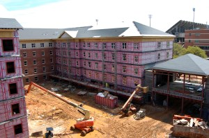 Construction of Century Park South has been taking place adjacent from the parking garage and across from Century Park North.  The new residence halls are planned to be completed by the 2014 fall semester. Mary Sergeant / Printz