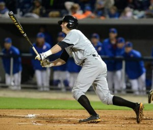 Southern Miss third baseman and closer Bradley Roney ropes a single to center field in the top of the seventh inning Tuesday night in a 4-2 loss to the Florida Gators. Courtesy Photo