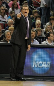 Connecticut Huskies head coach Geno Auriemma shouts in a game against the BYU Cougars in the semifinals of the 2014 NCAA Tournament at Pinnacle Bank Arena. Connecticut won 70-51.  Bruce Thorson/USA Today Sports