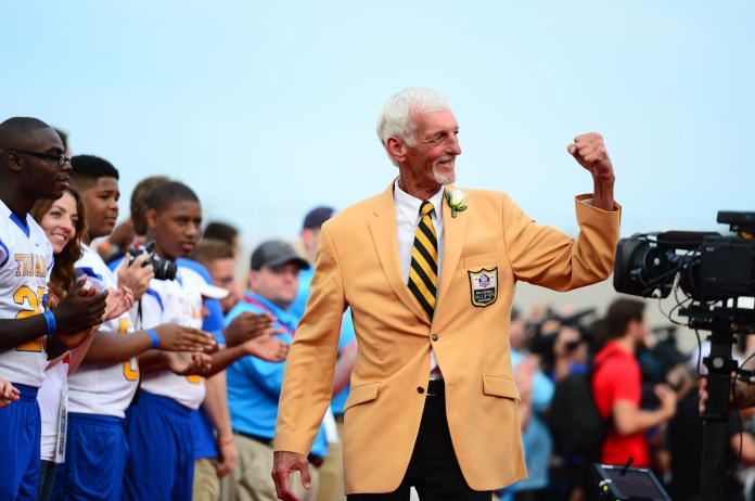 Oakland Raiders former punter Ray Guy walks the red carpet prior to the 2014 Pro Football Hall of Fame Enshrinement at Fawcett Stadium.