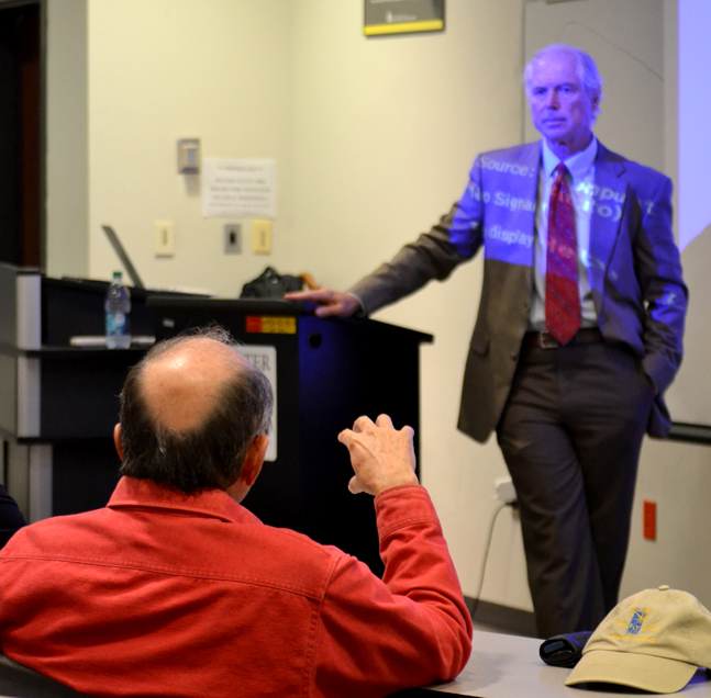 "Dr. Dan Hollin, professor of communications at UC-San Diego, speaks about ""Reporting on the Vietnam War"" on Monday at 6 p.m. in the LAB. The event was put on by the History Department here at Southern Miss kicking off the 3 series event."