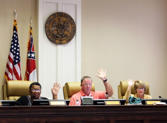 Deborah Delgado, Kim Bradley and Mary Dryden vote on proposed action plans for the city. Hattiesburg's City Council met on Tuesday, October 7 to further discuss various topics that arose during the last city council meeting. -Michael Kavitz