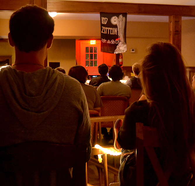 Students gather for a Led Zeppelin record listening, hosted by South City Records as part of the Classic Album Listening Series. The event took place at the Neal House Wednesday night. - Brittny Roberts/Printz