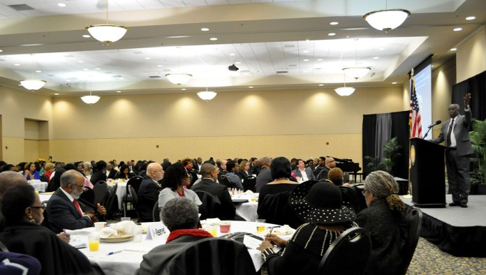 Dr. Dolphus Weary, President of R.E.A.L. Christian Foundation, speaks on behalf of the 9th Annual Dr. Martin Luther King Jr. Interracial and Ecumenical Prayer Breakfast held in the Thad Cochran Center in Hattiesburg, MS. Monday, Jan. 19, 2015.