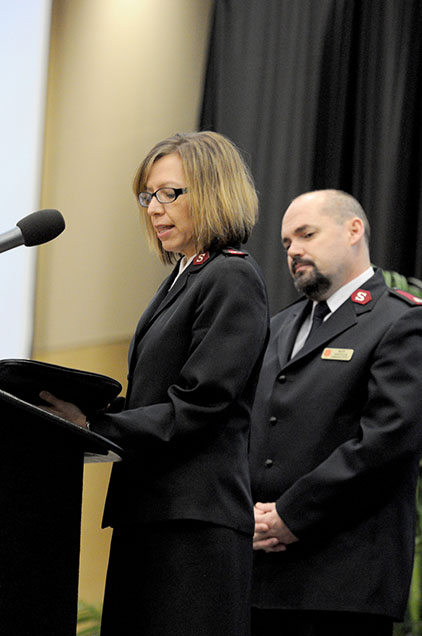 Majors Francisca and Andrew Gilliam, Salvation Army Corps Officers say a moment of prayer during the 9th Annual Dr. Martin Luther King Jr. Interracial and Ecumenical Prayer Breakfast held in the Thad Cochran Center in Hattiesburg, MS. Monday, Jan. 19, 2015.