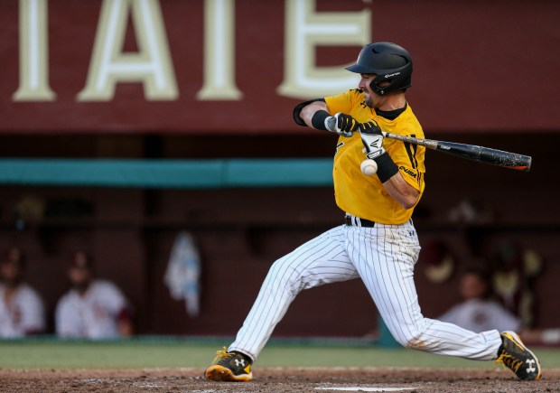 Tim Lynch gets hit by the ball at the Tallahassee Regional on June 4, 2016.