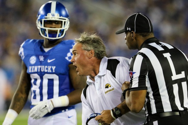 Southern Miss head coach Jay Hopson demanding a review for a play against the Kentucky Wildcats in Lexington, Kentucky on September 3, 2016. (Student Printz/ Hunt Mercier)