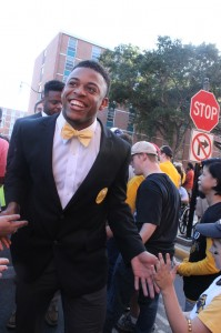Southern Miss defensive back Picasso Nelson, Jr. smiles during Eagle Walk on Oct. 29.