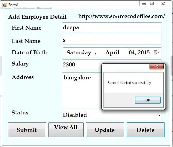 delete employee record