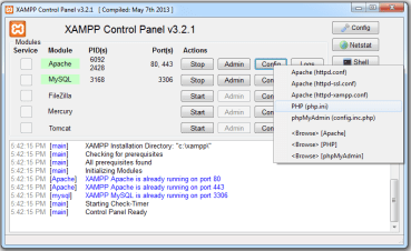 Disable warning and notices in XAMPP