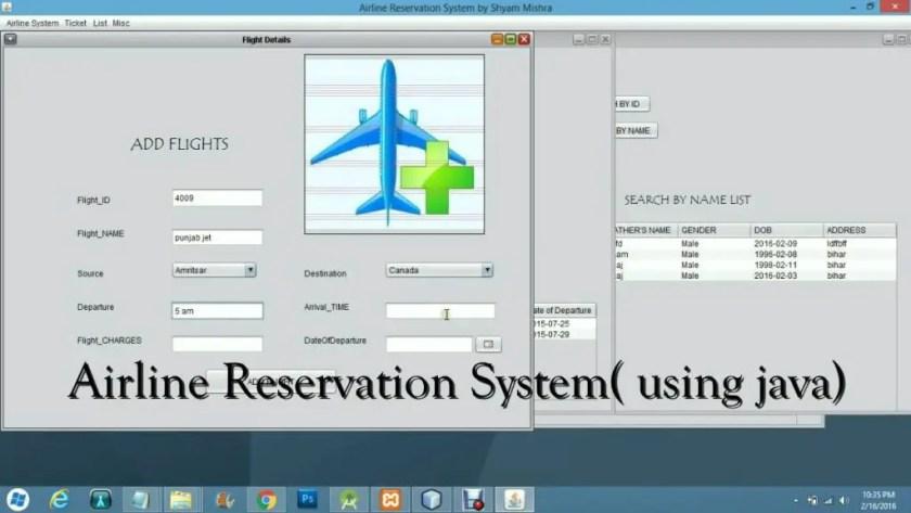 JAVA based Airline Reservation System