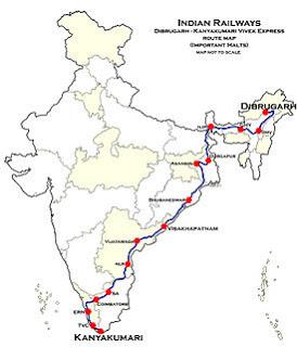 ভারতের দির্ঘ্যতম রেলপথ অতিক্রমকারী ট্রেন হল 'বিবেক এক্সপ্রেস'