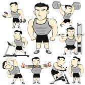 22190145-fitness-man-activities-actions-set-pack-cartoon