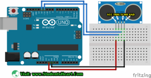 Circuit Diagram of Interfacing Ultrasonic Sensor with Arduino