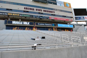 "The newly renovated seats in the south end zone of Sun Devil Stadium represent one half of the new ""Double Inferno"" that ASU head coach Todd Graham thinks will make the Sun Devils a tough team to play at home. (Cronkite News photo by Bill Slane)"