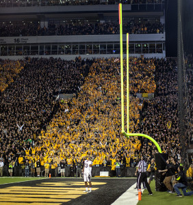 Panthers receiver Tyler Boyd watches the ball cross the upright in the closing seconds of the game against the Hawkeyes on Saturday, Sept. 19, 2015. The Hawkeyes defeated the Panthers 27-24. (The Daily Iowan/Sergio Flores)