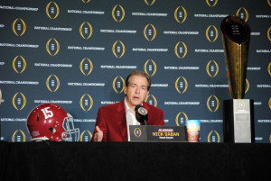 Alabama head coach Nick Saban addresses the media the day after his team defeated Clemson 45-40 to win the College Football Playoff National Championship. (Photo by Bill Slane/Cronkite News)