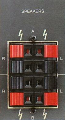 Ausgänge für zwei Lautsprechergruppen am Revox B285.