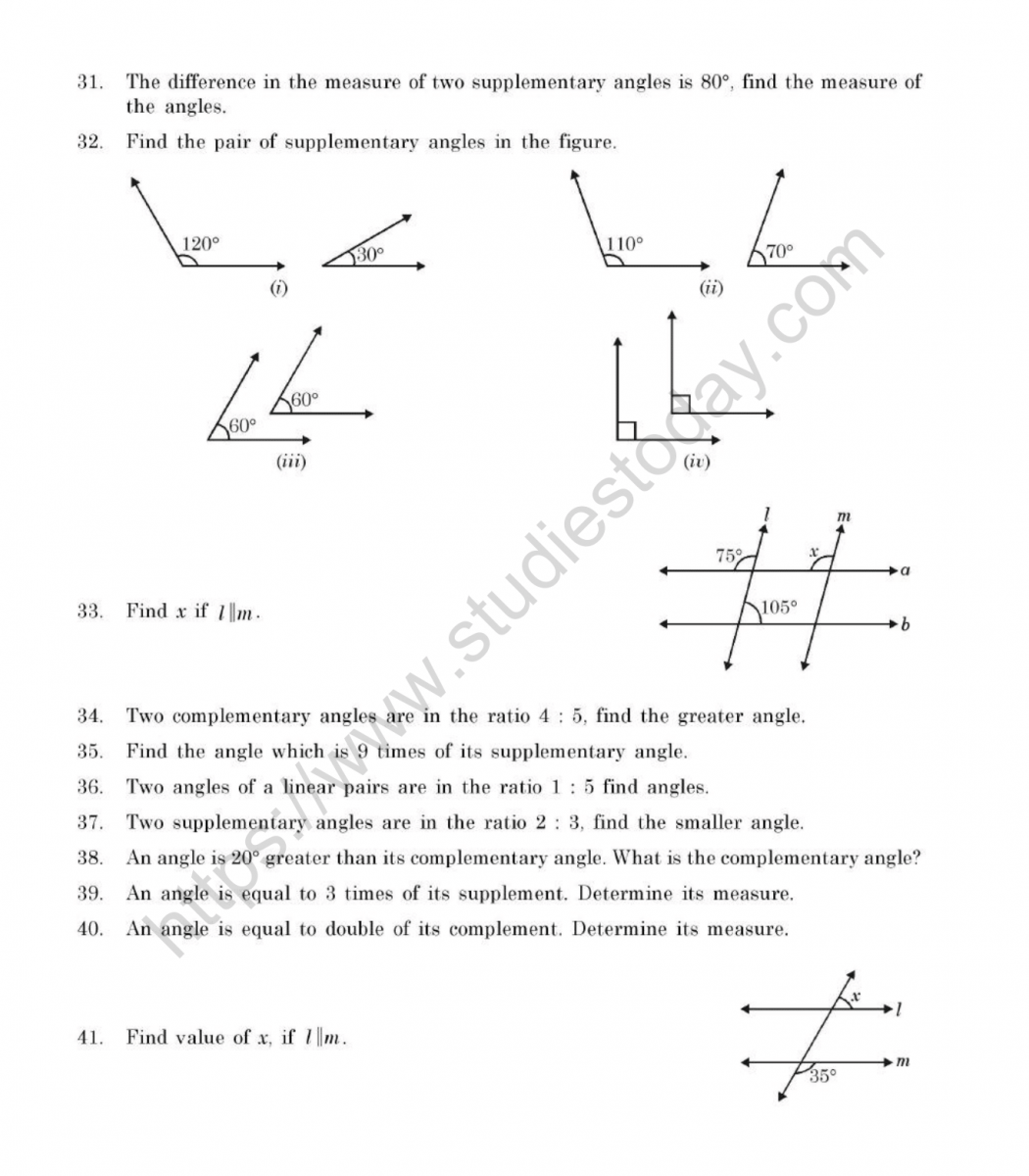 Cbse Class 7 Mental Maths Lines And Angles Worksheet